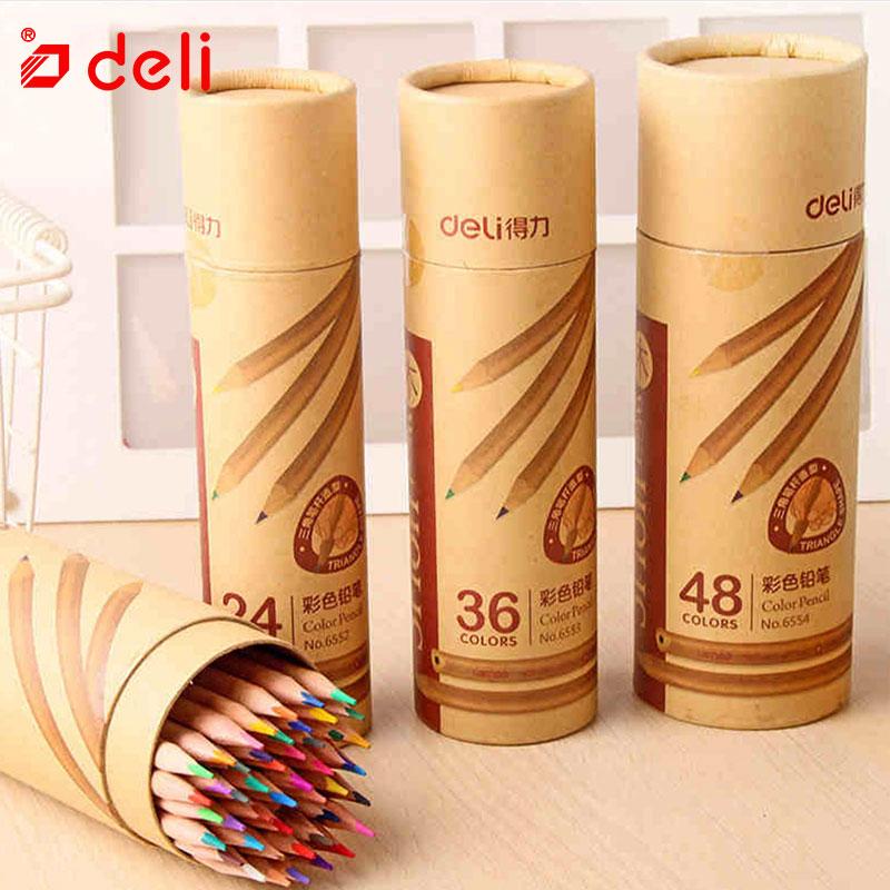 Deli Student Stationery Color Pencil Sketch Drawing Pen Artist Supplies Oily Colored Pencil apices de colores 12 18 24 36 48pcs