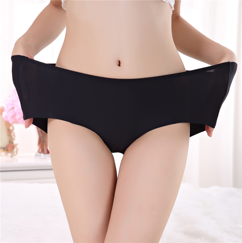 PLUS SIZE sexy seamless panties underwear women sik silk string sexy cotton hipste scrotch big size visavis candy hot sale brief
