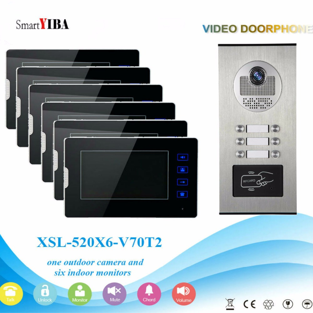 SmartYIBA Video Door Intercom Kits For 2 To 12 Stories Buildings Apartments RFID Doorbell Door Phone Intercom Security System