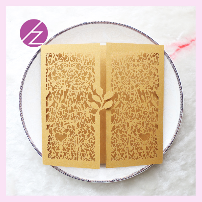 Us 13 03 13 Off 12pcs Lot Free Design Sample Dinner Invitation Card Qj 165 Gold Leaves Design Hot Sale Wholesale In Cards Invitations From Home