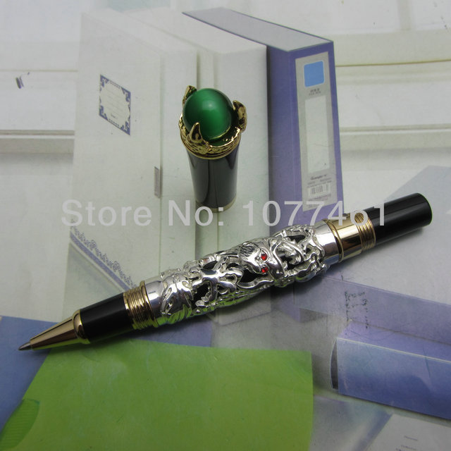 JINHAO Rollerball pen Snow-white dragon king play pearl pattern pen with Ordinary Gift Box  J1138 jinhao ancient dragon playing pearl roller ball pen with jewelry on top with original box free shipping