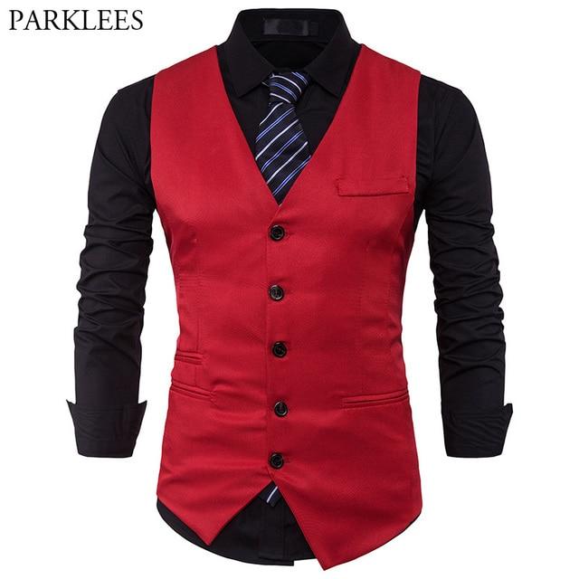 Men Suit Vest 2017 Slim Fit Vest Men Business Wedding Waistcoat Mens