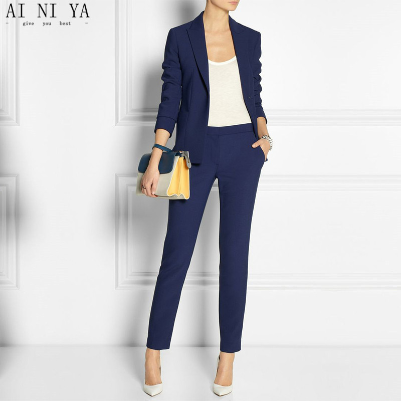 Navy Blue Slim Fit Womens Business Suits Female Office