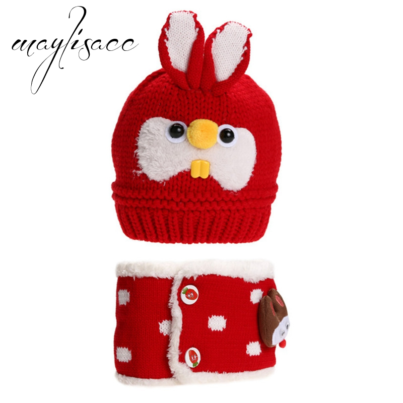 Maylisacc Baby Winter Warm Knitted Hat With Scarf Lovely Rabbit Hat For 3 Month-4 Years Old Girls Boys Scarves With Hat Set Delaying Senility