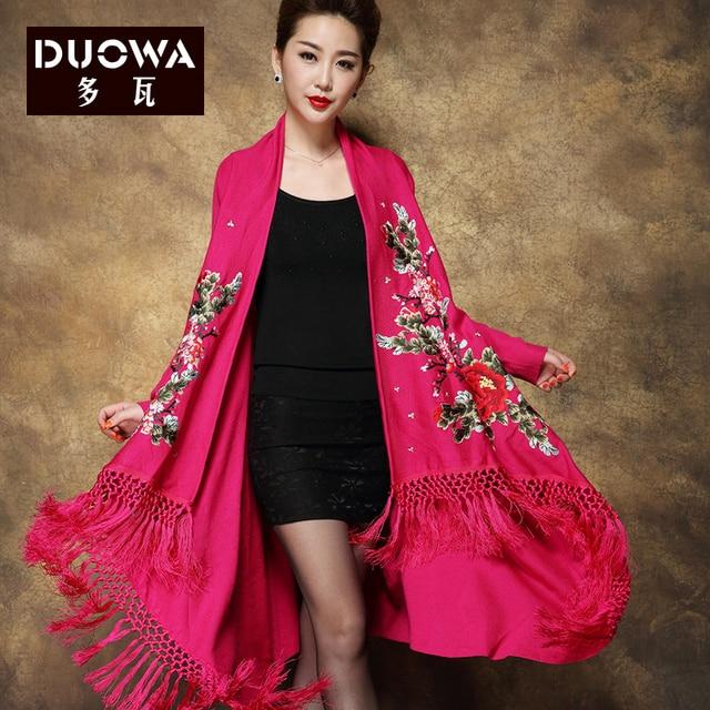 2016 Primavera Mujeres Tops mujeres Swearters Zanja tendencia nacional bordado de manga larga borla bufanda de lana de cuello suéter Outwear
