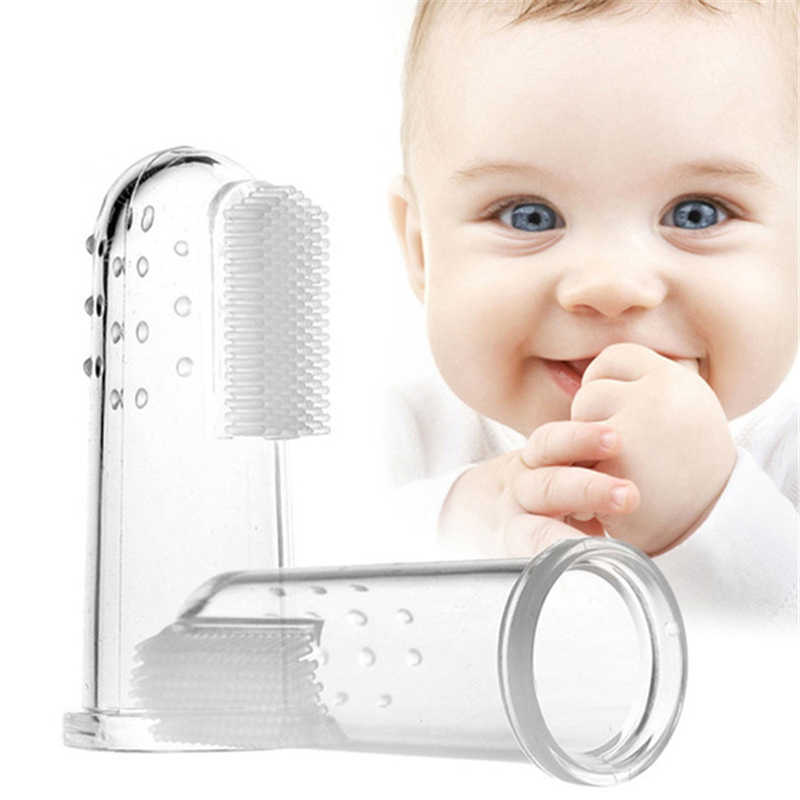 Cute Baby Finger Toothbrush With Box Children Teeth Clear Massage Soft Silicone Infant Rubber Cleaning Brush Massager Set boy