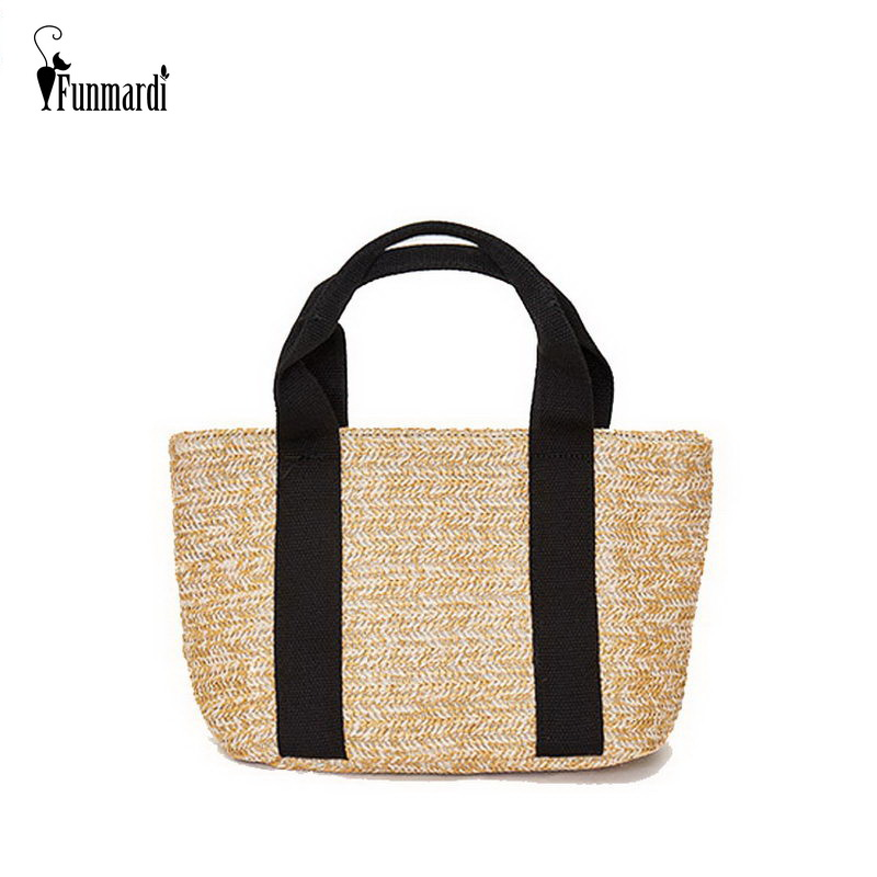 The Cheapest Price Funmardi New Bohemian Straw Bag For Women Beach Bag Summer Women Handbags Small Bag Canvas Handle Patchwork Casual Tote Wlhb1879 To Have Both The Quality Of Tenacity And Hardness Top-handle Bags