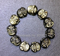 Beautiful Natural Gold Obsidian Carved Laughing Buddha Head Elastic Lucky Amulet Bracelet Stretch Fashion Jewelry for man