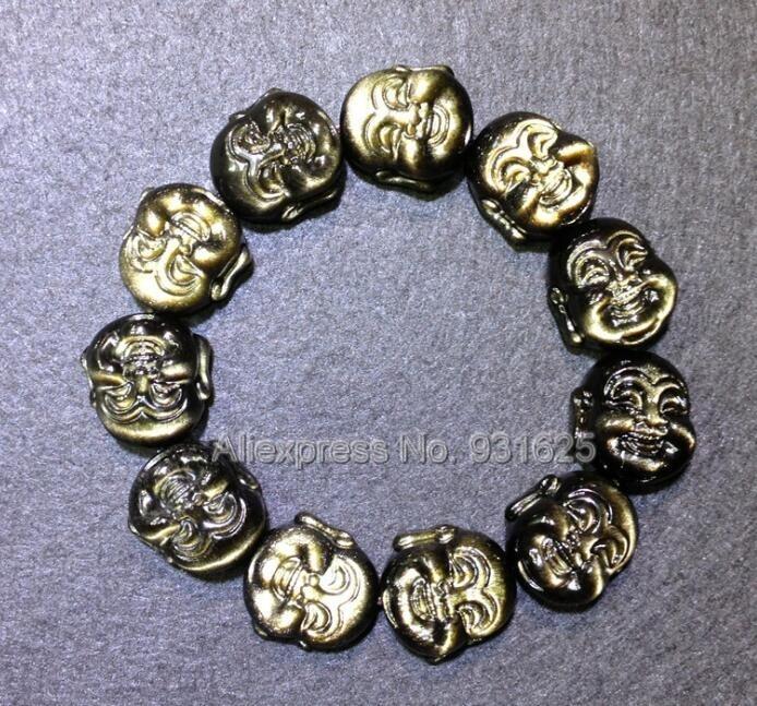 Belle obsidienne en or naturel sculpté tête de bouddha riant élastique Bracelet amulette chanceux extensible bijoux de mode pour homme