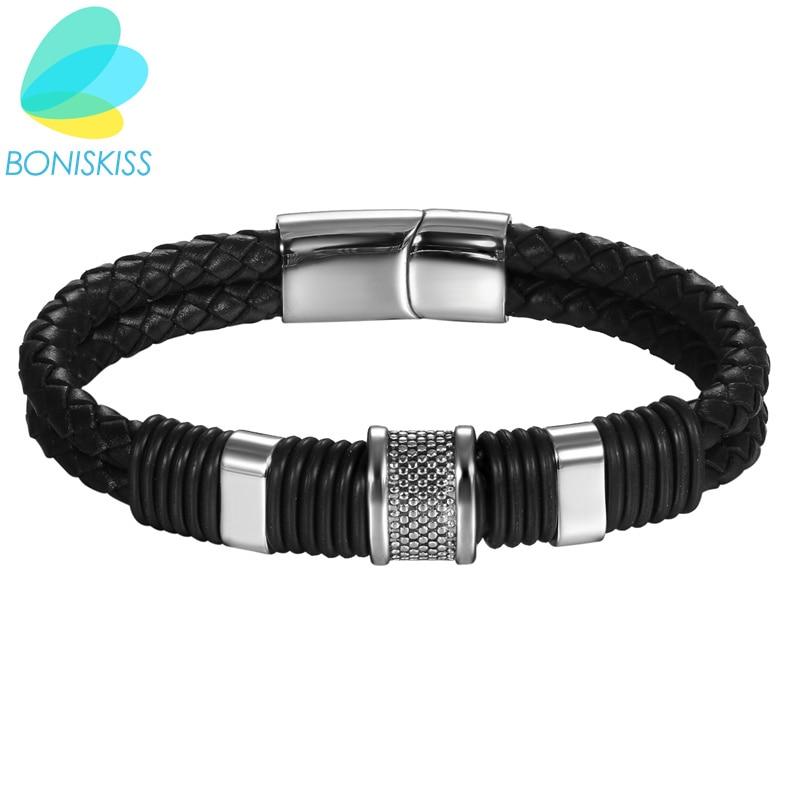 Boniskiss 23cm Bracelets & Bangles Double Layer Leather Bracelet Men Jewelry Fashion Men Bracelet Stainless Steel Charms Bangles