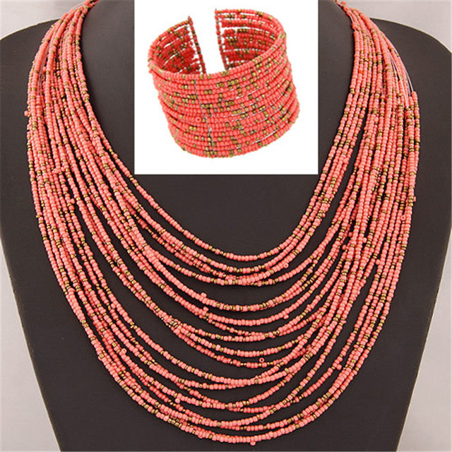 DIEZI African Acrylic Beads Jewelry Sets Bohemia Necklaces Bangles Women Fashion Statement Multilayer Necklace New Jewelry Set 4