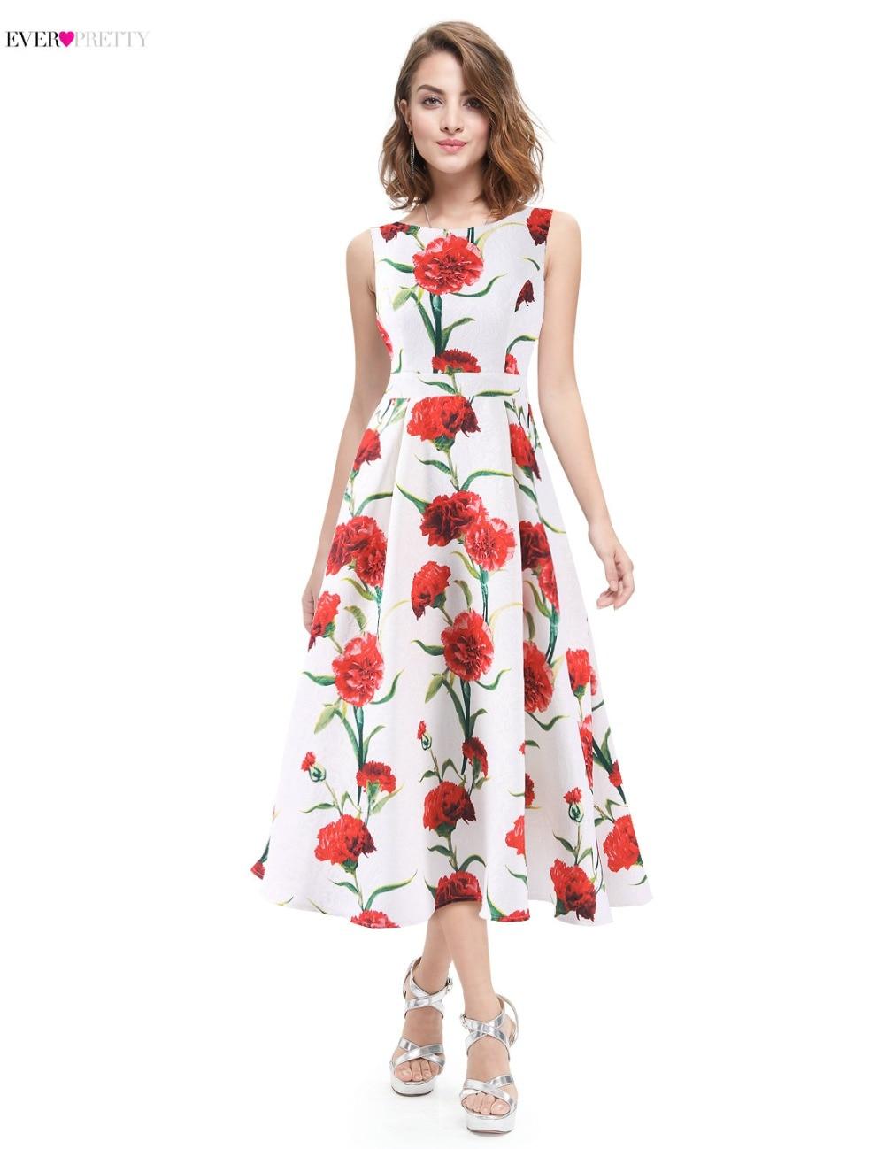 Ever Pretty Floral Print Prom Dresses Tea Length White And Blue