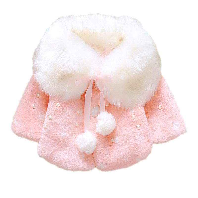 lovely Winter Baby Girls Fur Fleece Imitation Pearls Princess Outerwear warm Coat Lapel Collar Xmas Kids Infant Cloak Cape