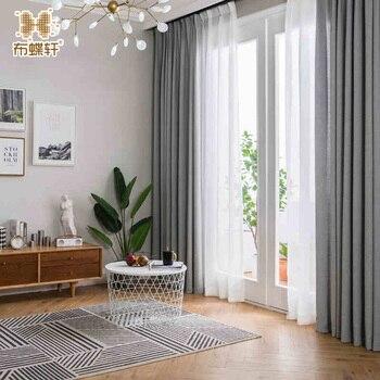 2018 nueva llegada cortinas de Color de humo de estilo nórdico moderno para oficina de dormitorio gris cortinas de lino sólido grueso para sala de estar