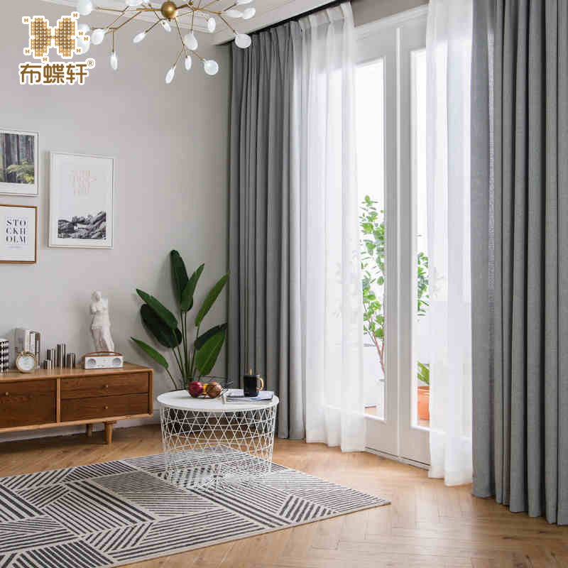 2018 nueva llegada gris cortinas para dormitorio oficina por encargo tama o grueso lino s lido - Cortinas modernas para dormitorio ...