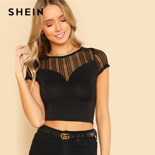 767c18d6 SHEIN Striped Mesh Sweetheart Crop Tee Black Round Neck Short Sleeve Button  Women Plain T-shirt 2018 Summer Sexy Party Top Tee