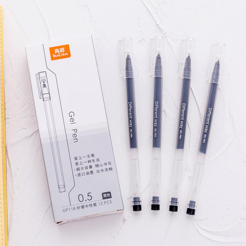 12pcs/lot 0.5mm Gel Ink Pens Black/Blue Ink Gel Pens For Student Writing Office School Supplies