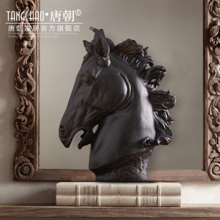 Home Office Sculpture Decor Decorations Black Horse Head Resin Crafts