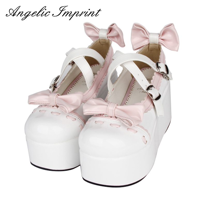 Spring & Autumn Sweet Lolita Cosplay Party Shoes Thick Platform Mary Jane Shoes Princess Girl Wedge Shoes sky blue red leather princess girl sweet lolita wedge mary jane shoes