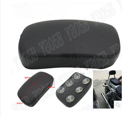 Black Leather Passenger Rear Seat Pad 6 Suction Cup For Harley Davidson Sportster XL883 XL1200 Dyna Wide Glide Bobber Custom Harley-Davidson Sportster