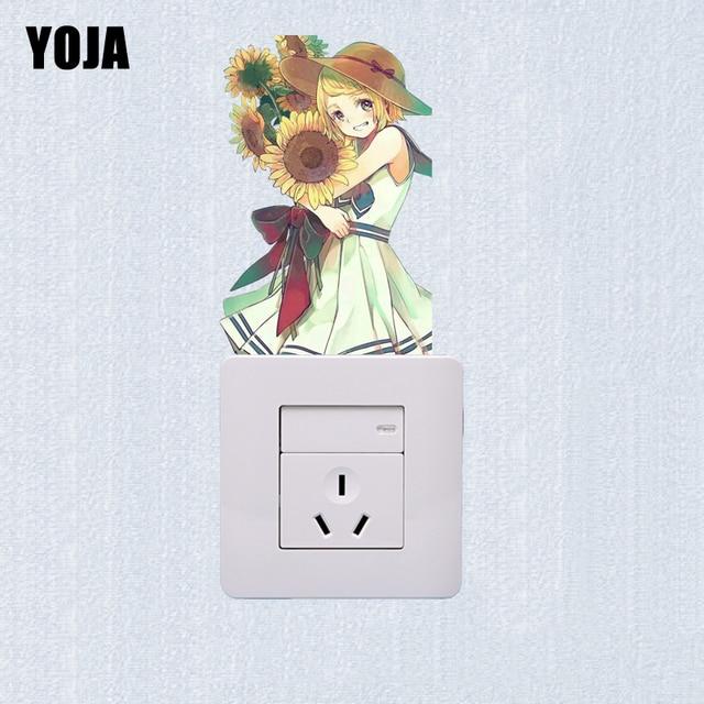 Us 0 8 40 Off Yoja Tersenyum Gadis Yang Indah Desain Bunga Matahari Switch Stiker Pvc Kartun Dekorasi Kamar Stiker Dinding 15ss0265 Di Wall Stickers