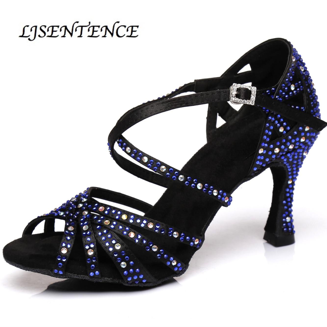3 Colors Black Blue Leopard Latin Salsa Ballroom Very Fine Dance Shoe Silver
