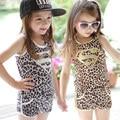2015 new baby girls sport suit Leopard vest+ shorts summer supermen printed clothing set