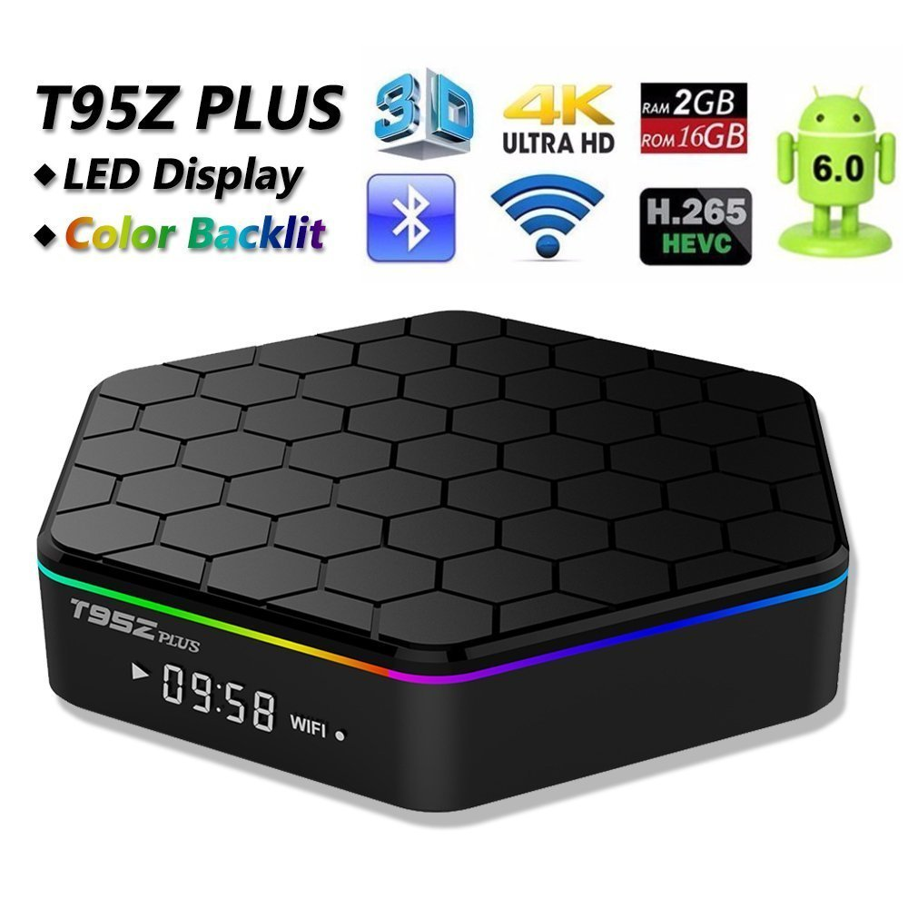 T95Z PLUS Android 6.0 TV BOX avec Amlogic S912 Octa core 2 GB DDR3 16 GB EMMC Support 2.4G/5G double Wifi 1000 M LAN Bluetooth 4.0 4 K