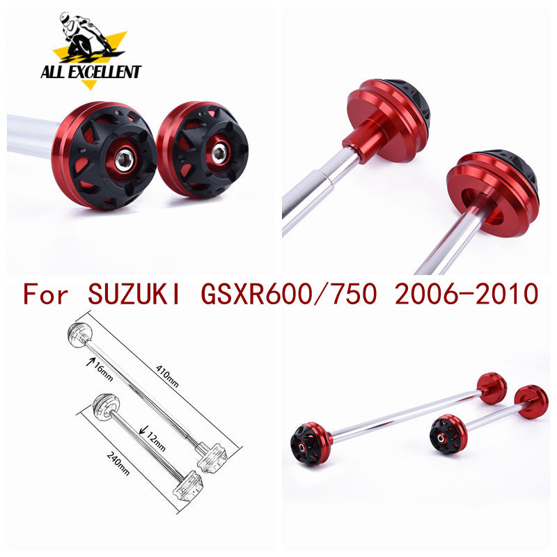 CNC Aluminum <font><b>Front</b></font> & Rear Axle <font><b>wheel</b></font> fork For <font><b>Suzuki</b></font> <font><b>GSXR</b></font> <font><b>600</b></font> 750 2006-2010 GSXR600 GSXR750 Cap Crash Slider Falling Protection image