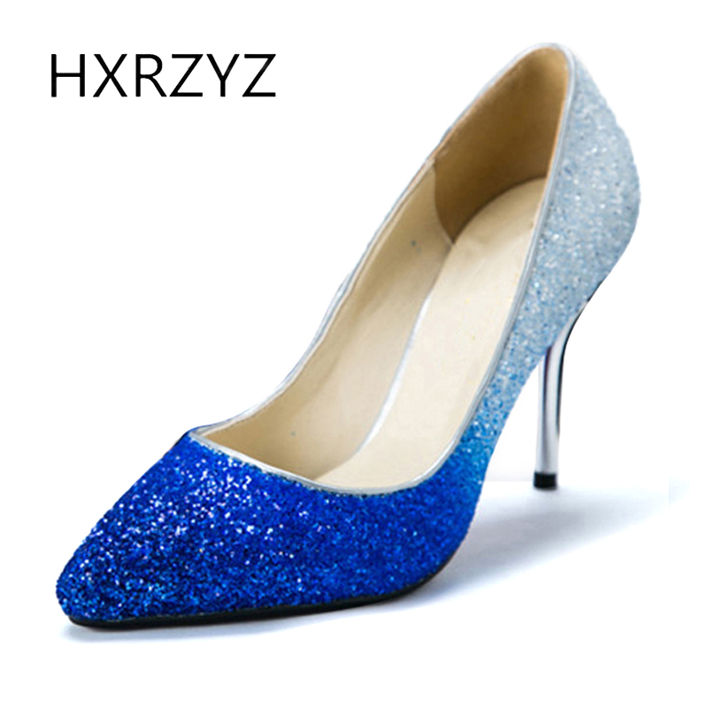HXRZYZ summer high heels women super high pumps ladies fashion thin heel gradient shoes sequin fabric pointed toe women shoes sexy women semi transparent lace high heels new 2017 ladies sequin shoes slip on thin heel pumps free shipping