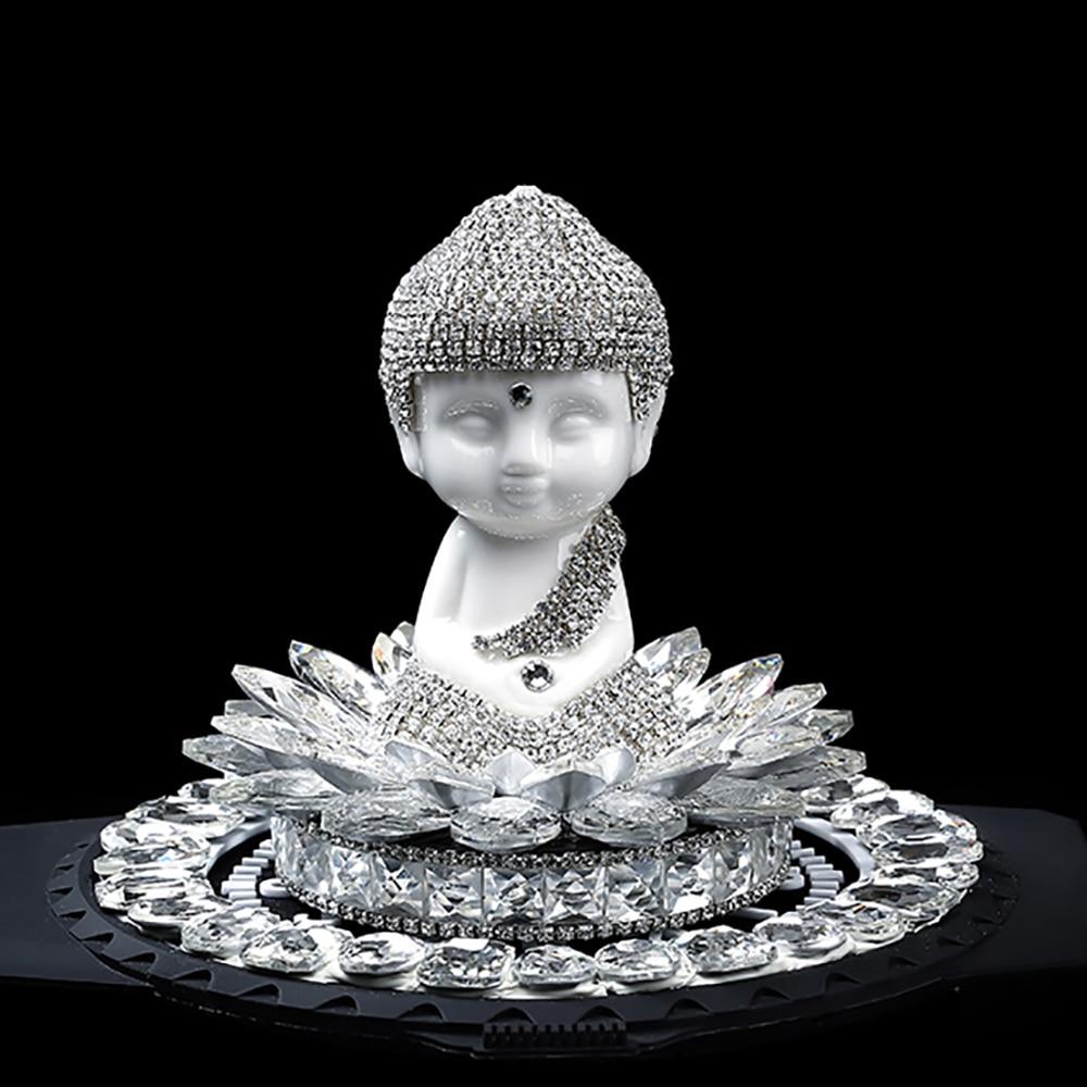 Voiture Ornements Maitreya Bouddha Figurines en Céramique Créative Maitreya Artisanat Avec Strass Décoratif Intérieur Auto Accessoires