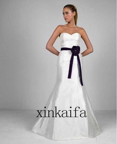 White Satin Black Sash Bridal Wedding Dress Gown All Over The World