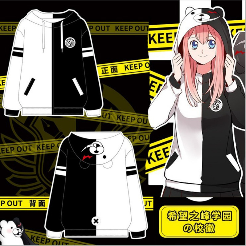Danganronpa Monokuma Cosplay Costume Unisex Hoodie Anime Sweatshirt Daily Hooded Black White Bear Long Sleeve Casual Coat Jacket