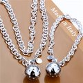 Free Shipping Wholesale Fashion Jewelry Set,Lob 2 Piece set,925 Sterling silver Necklace&Bracelet&Earrings T040