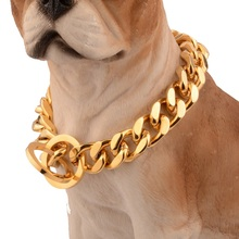 12/14/18mm Strong Gold Stainless Steel Slip Dog Collar Metal Dogs Training Choke Chain Collars for Large Dogs Pitbull Bulldog 18 26 31mm new huge duty strong stainless steel silver gold lock buckle pet dog cuban curb chain training choke collar pit bull