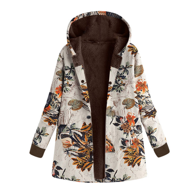 OYSOHE Womens Winter Warm Outwear Floral Print Hooded Pockets Vintage Oversize Coats