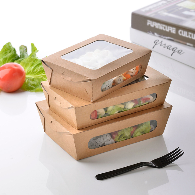 3 Size Kraft Paper Salad Box Disposable Water Proof Takeaway Lunch Fruit Camping Supplies Dinnerware