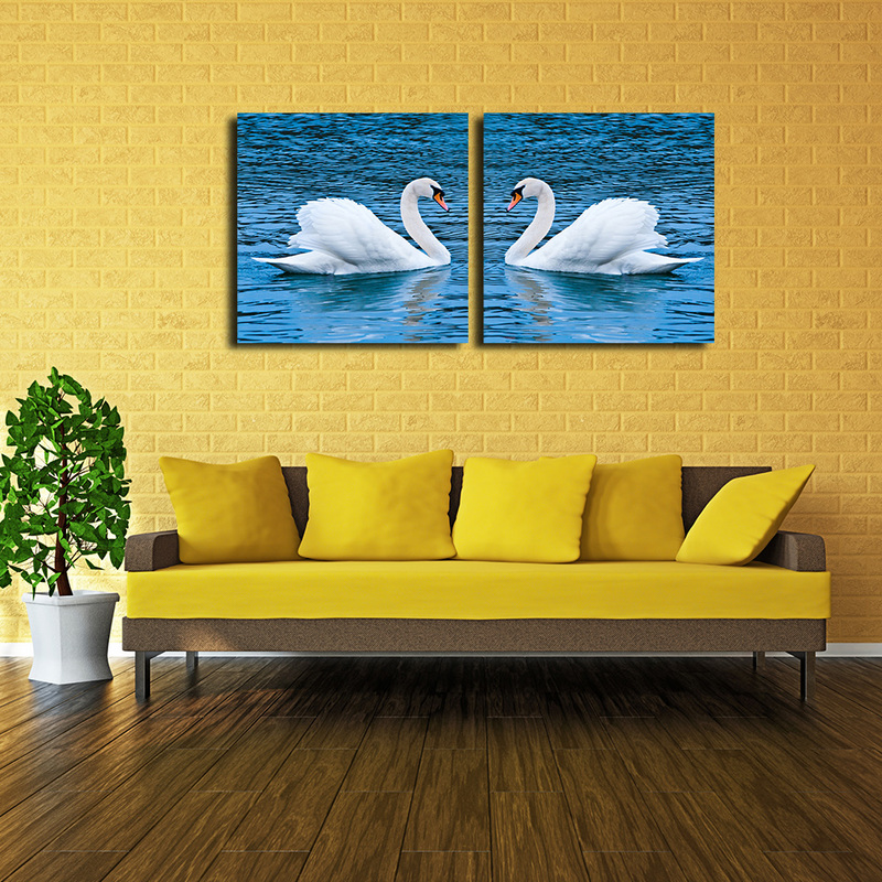 Swan Wall Decor, Two Pieces White Swans Lake Art Work Canvas Prints ...