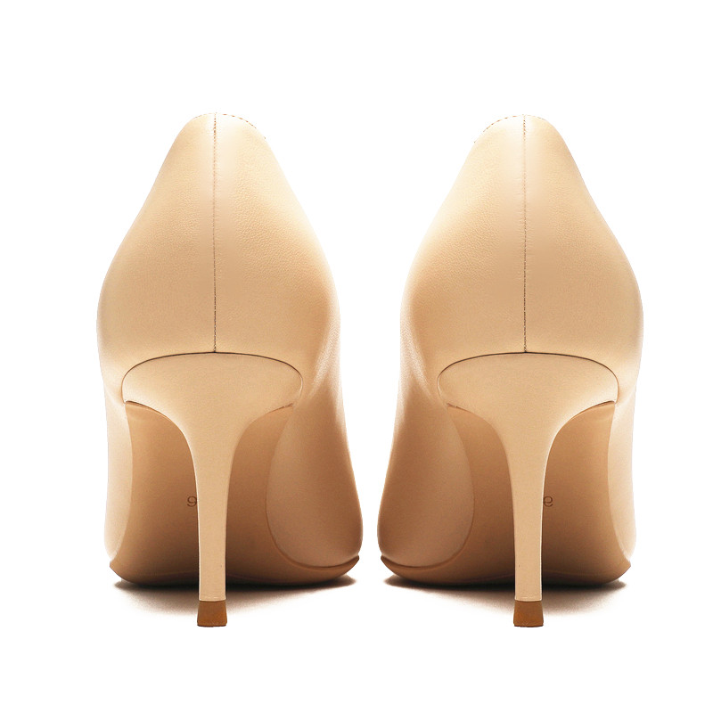Image 5 - KATELVADI Ladies Shoes Beige Split Leather 6.5CM High Heel Pumps Women Shoes Sapato Feminino Footwear Size 34 42 K 324-in Women's Pumps from Shoes