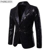 Mens One Button Black Sequin Dress Blazers 2018 Brand New Nightclub Prom Men Suit Jacket Wedding Party Stage Blazer Masculino