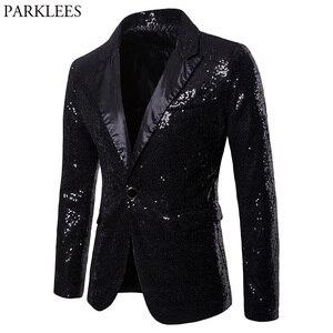 Image 1 - メンズワンボタン黒スパンコールドレスブレザー 2018 ブランド新ナイトクラブウエディング男性スーツのジャケットのウェディングパーティーステージブレザー Masculino