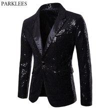 Blazer negro de lentejuelas con un botón para hombre, traje para fiesta de noche, chaqueta para boda, escenario, novedad de 2018