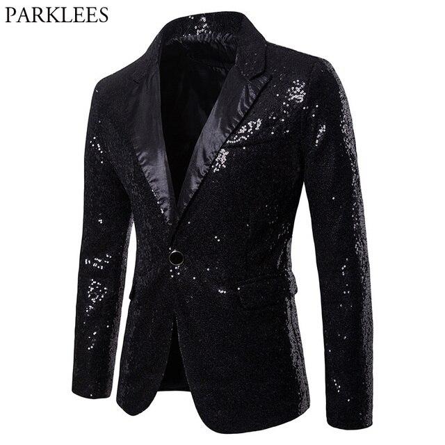 Mężczyzna jeden przycisk czarny cekin sukienka Blazers 2018 Brand New klub nocny Prom mężczyźni marynarkę wesele etap Blazer Masculino