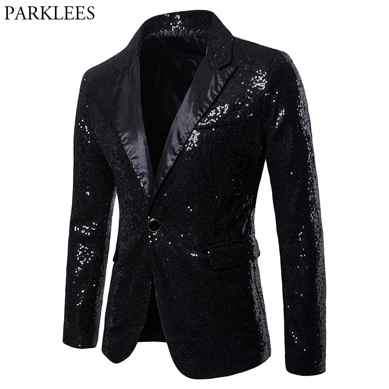 Mens One Button Black Sequin Dress Blazers 2018 Brand New Nightclub Prom Men Suit Jacket Wedding Party Stage Blazer Masculino