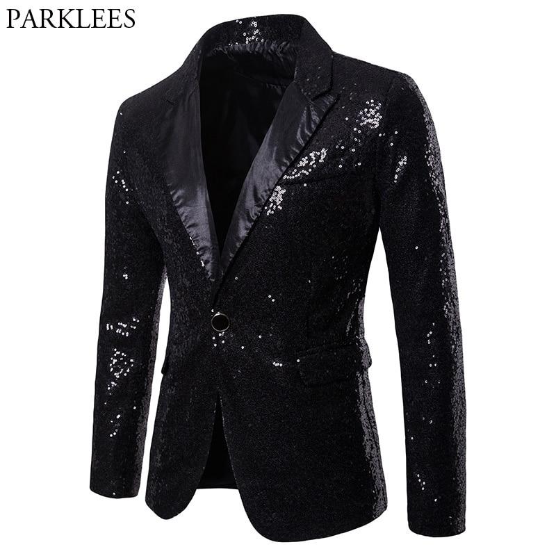 Mens One Button Black Sequin Dress Blazers 2018 Brand New  Nightclub Prom Men Suit Jacket Wedding Party Stage Blazer  MasculinoBlazers