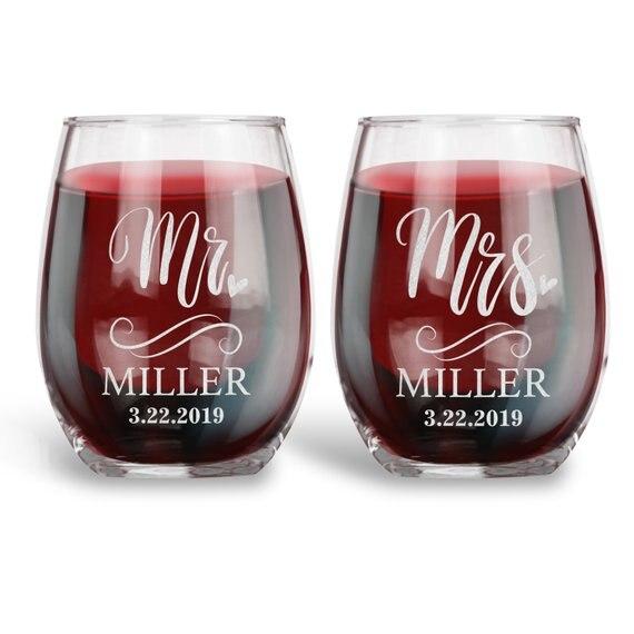 2 pièces personnalisé Mr. Mrs. verres à vin sans tige de mariage, cadeau de mariage pour Couple, nom personnalisé Date de mariage verres à vin de grillage