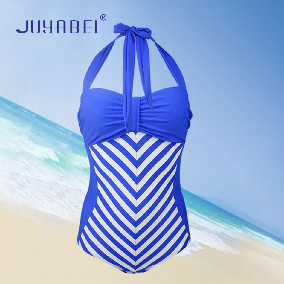 JUYABEI 2018 Plus Size Women Sexy Halter Push Up Beach Bikini One-piece Swimwear Striped Swimsuit Monokini Bathing Suit S-3XL