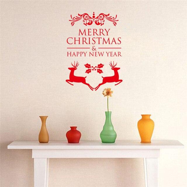 Рождеством Новый Год Наклейки Стены Термоаппликации Съемный Искусство Винил Главная Kid Детская Комната Украшения