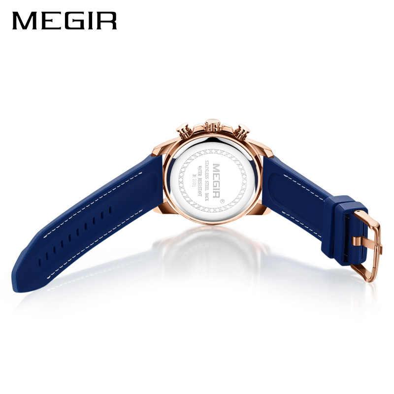 Для мужчин s часы лучший бренд класса люкс MEGIR силиконовые военные спортивные часы хронограф секундомер Relogio Masculino Reloj Hombre часы для мужчин