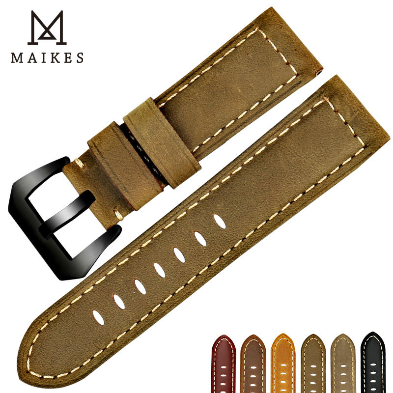 MAIKES vintage watchbands watch accessories cow leather watch band 22 24 26mm watch strap for Panerai or black samsung gear s3 maikes 18mm 20mm 22mm watch belt accessories watchbands black genuine leather band watch strap watches bracelet for longines